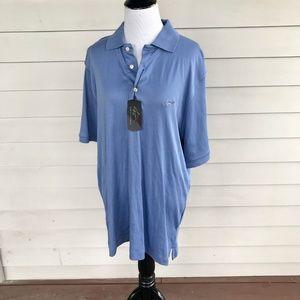 Greg Norman Shark Slate Blue Golf Polo Shirt NWT